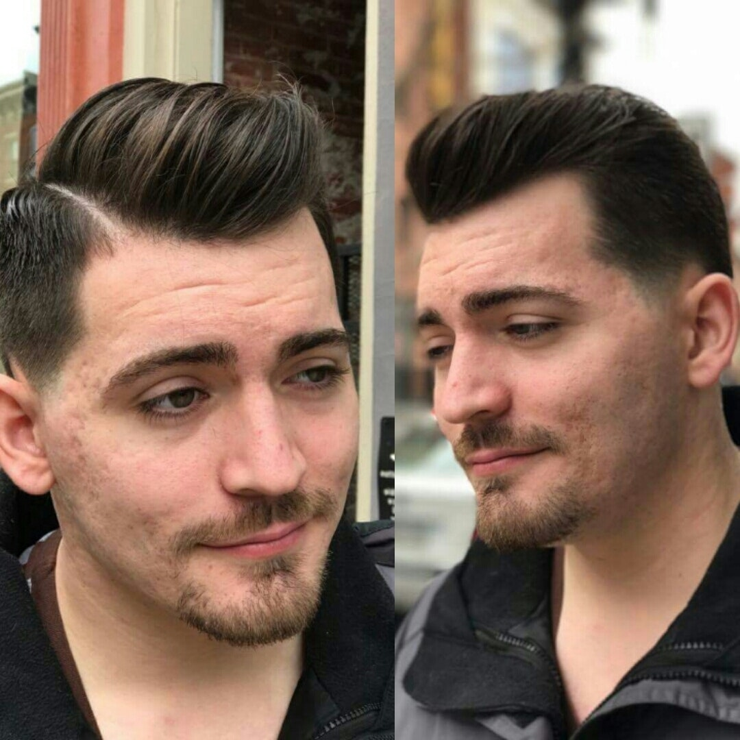 Low Number 1 Fade Comb Over Pompadour With A Hard Part Arrojosocial