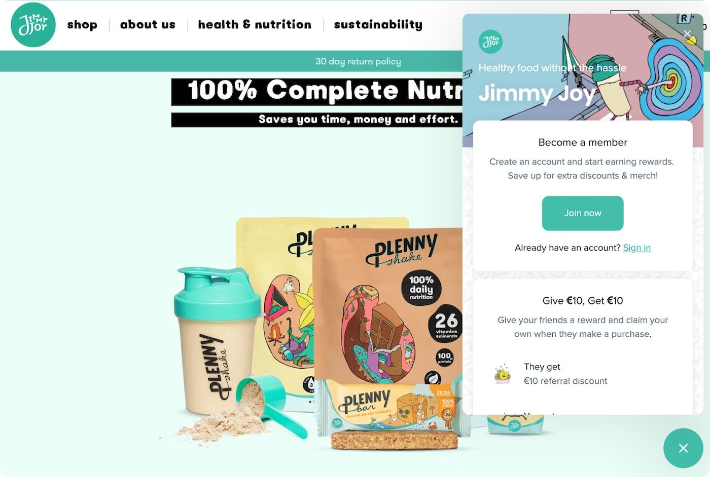 Screenshot of Jimmy Joy's website and loyalty program
