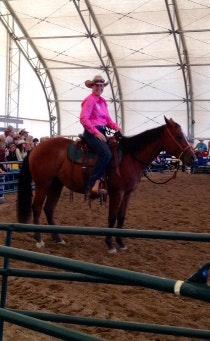 A person riding a horse  Description automatically generated
