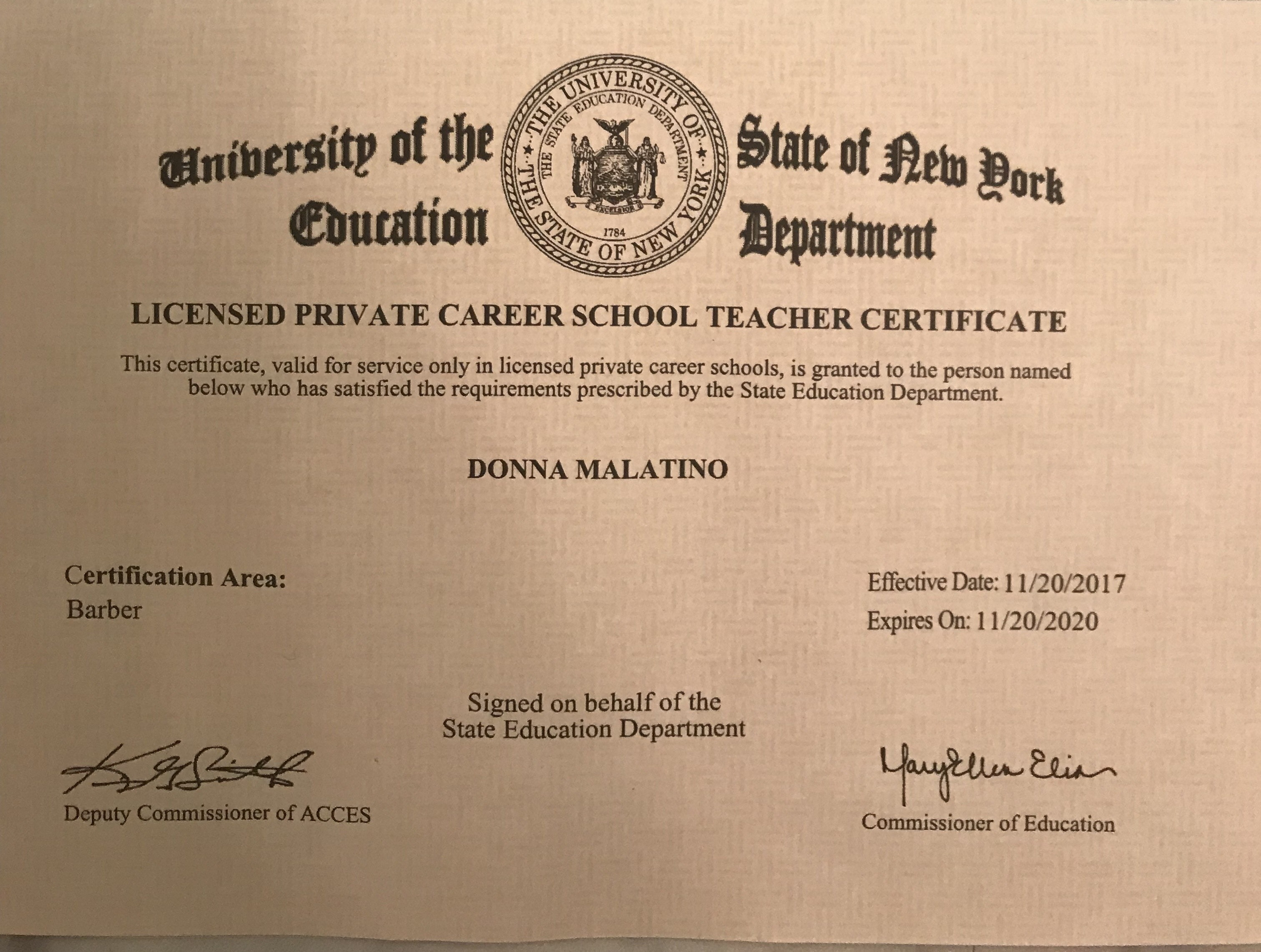 Latest accomplishment nys private career school license to teach latest accomplishment nys private career school license to teach barbering an addition to my nys private career school license to teach cosmetology 1betcityfo Images