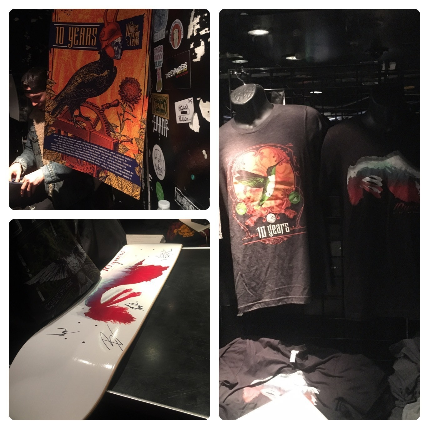 10 years merch: Roxy Los Angeles 1 29 18 the poster and the