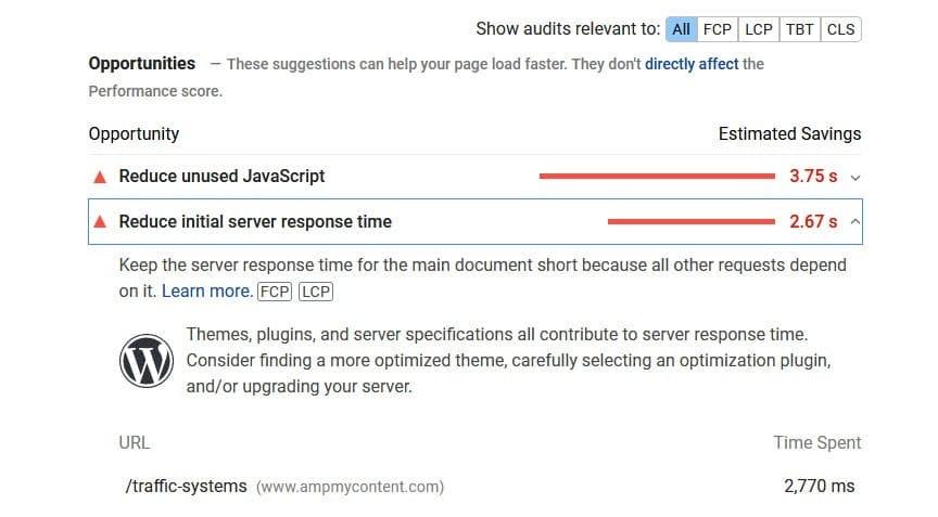 LCP reduce server response time