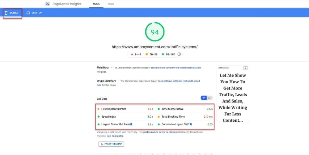 pagespeed insights first input delay
