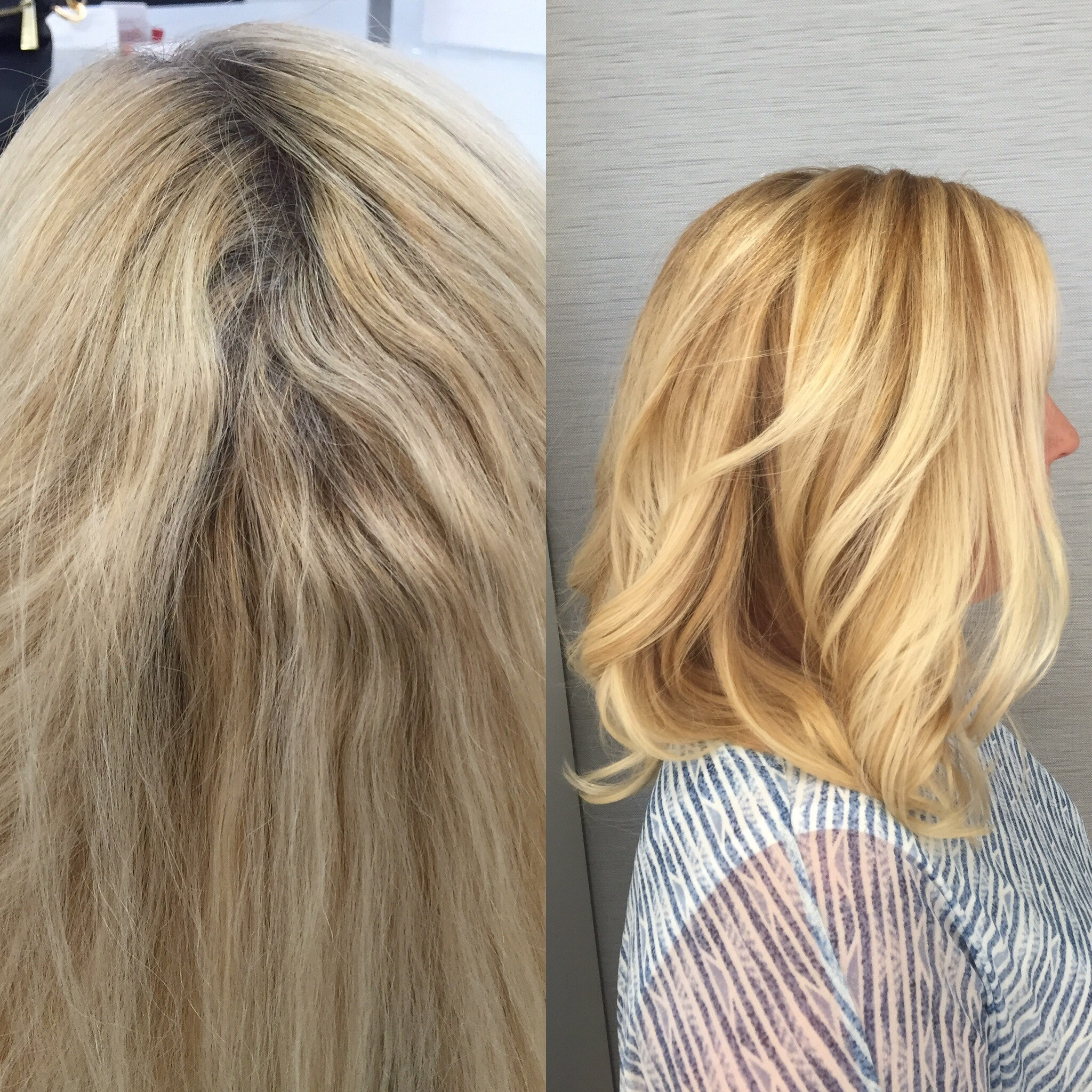 Before And After Years Of At Home Platinum Exchanged For A Soft